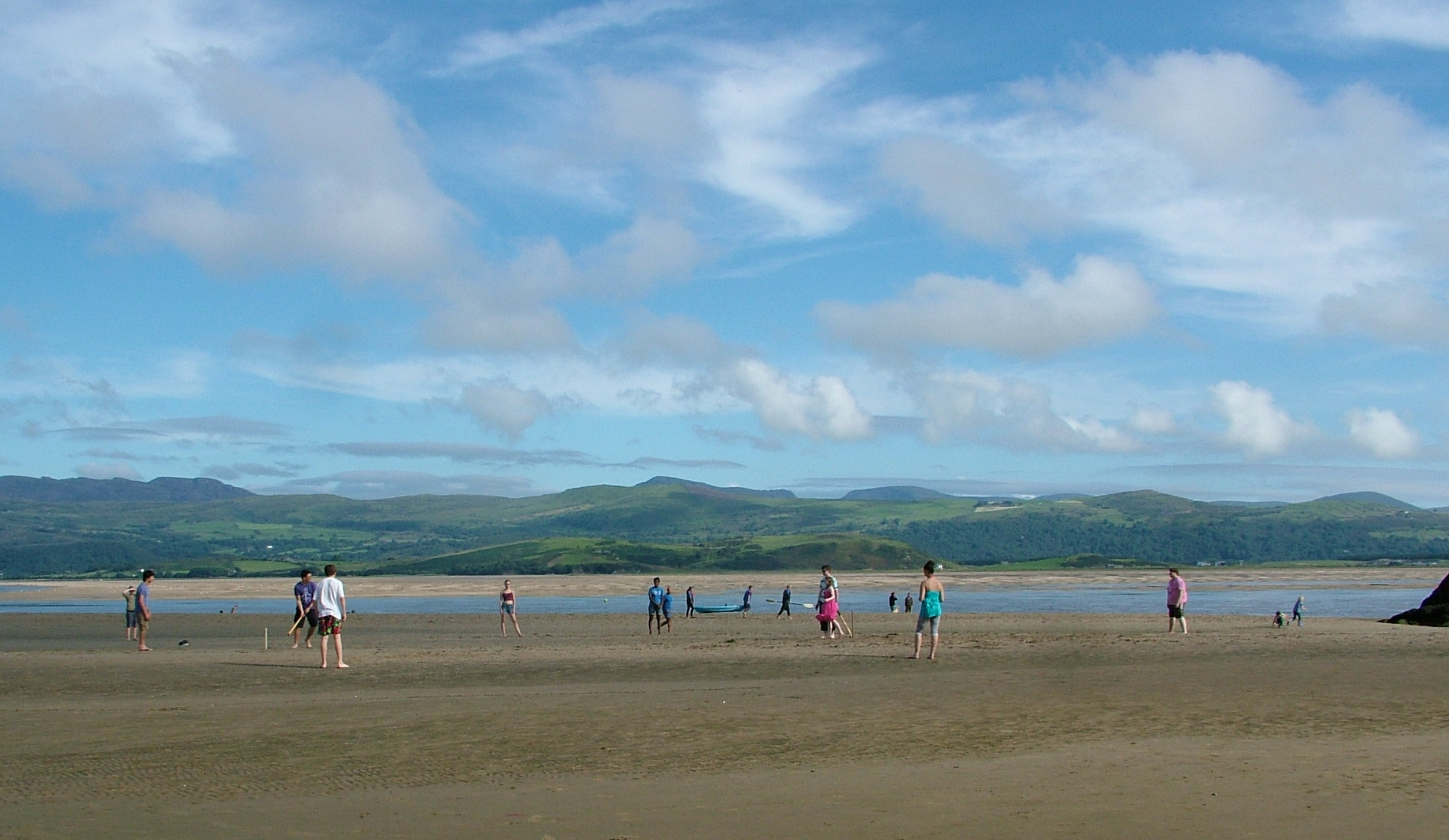 Beach cricket at Borth-y-Gest